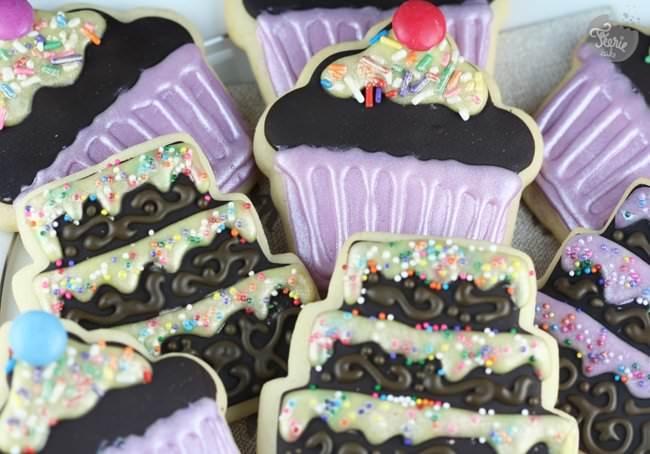"""Sugar cookies """"cupcakes et gâteaux à étages"""""""
