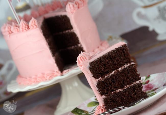 Gâteau chocolat et ganache framboise