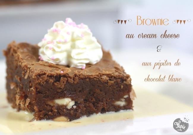 Brownie au cream cheese & aux pépites de chocolat blanc