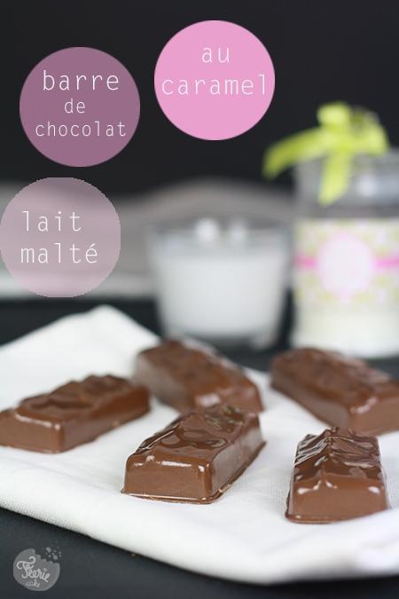 Barre de chocolat fourrée au caramel et mousse de lait malté