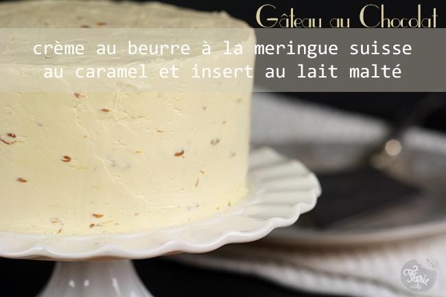 Gâteau au chocolat crème au beurre à la meringue suisse au caramel et insert au lait malté