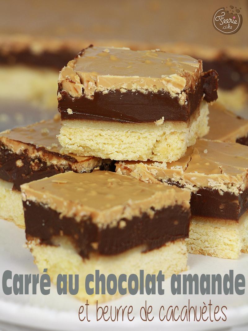 Les petits carrés de biscuits au chocamande et beurre de cacahuètes
