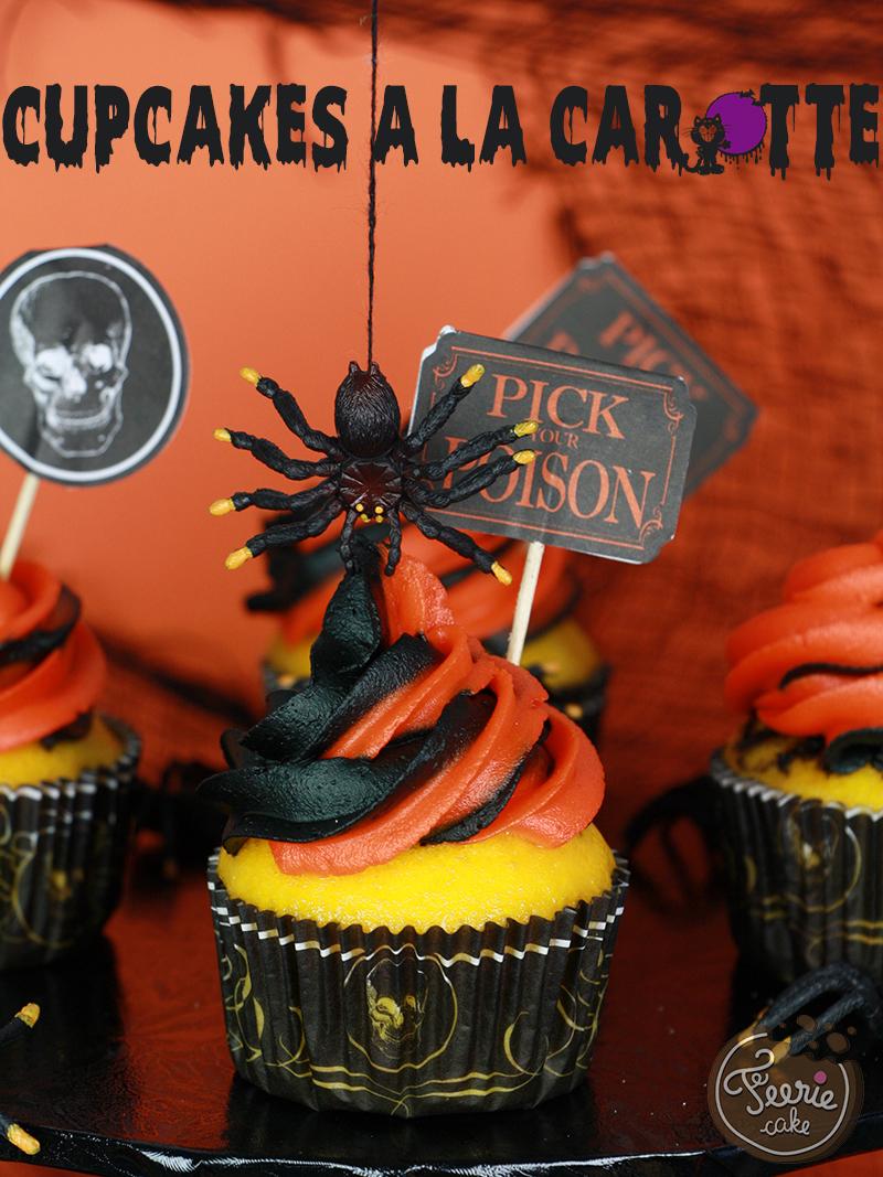 Cupcakes à la carotte d'Halloween