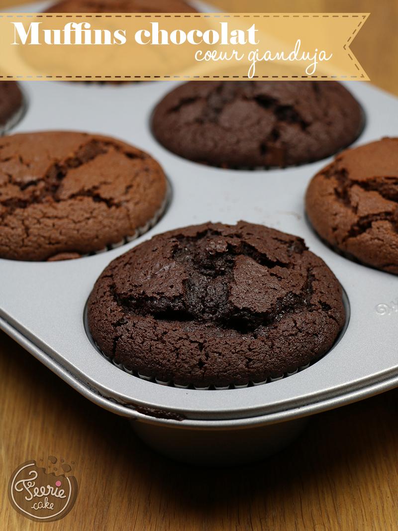Muffins chocolat coeur gianduja