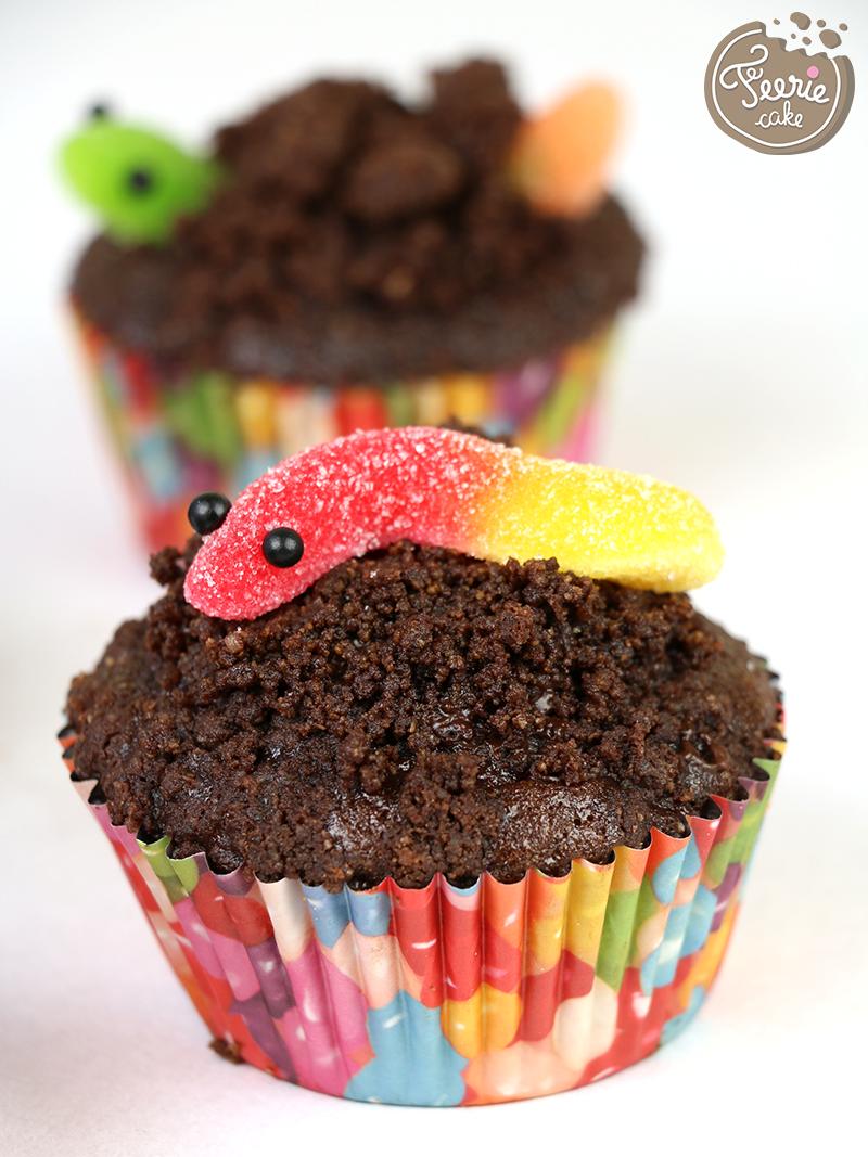 cupcakes chocolat vers de terre f erie cake. Black Bedroom Furniture Sets. Home Design Ideas