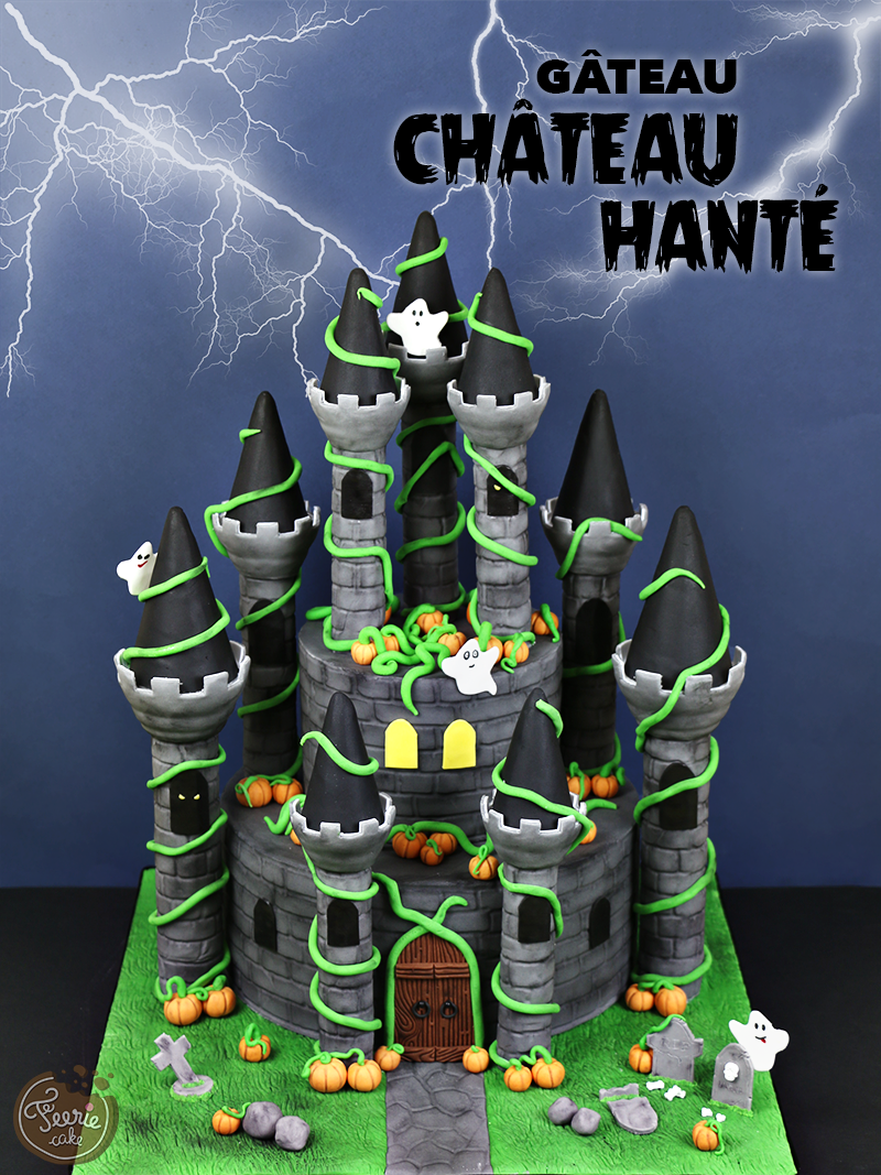 Gâteau château hanté
