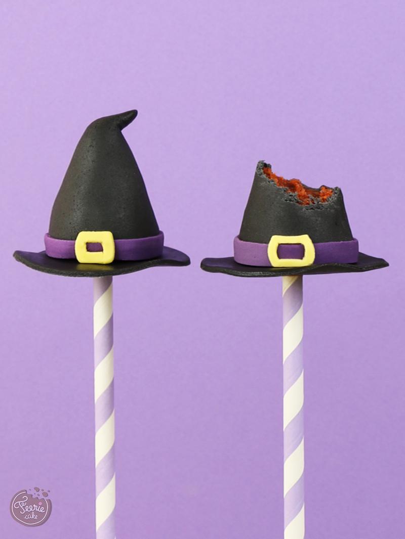 cake pops sorcières chapeau
