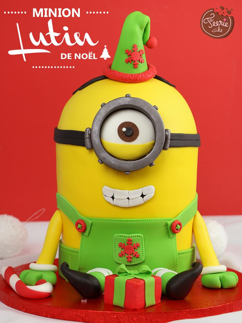 Gâteau 3D «Minion lutin de Noël»