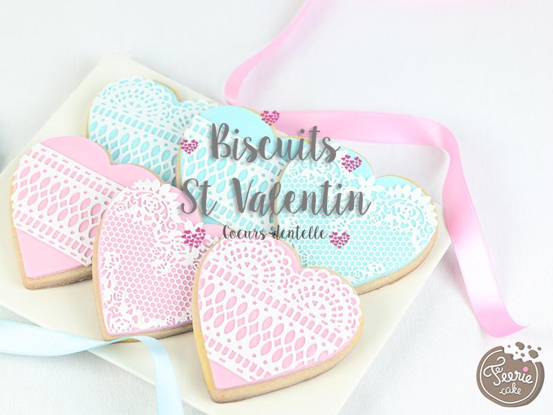 biscuits st valentin coeurs dentelle