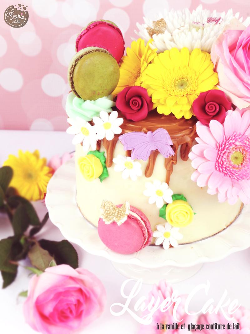 Layer cake vanille et glaçage à la confiture de lait