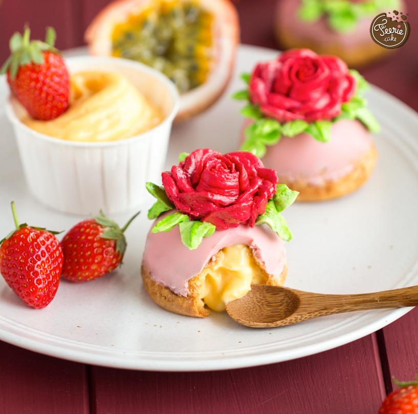 cup choux fraise passion fleur