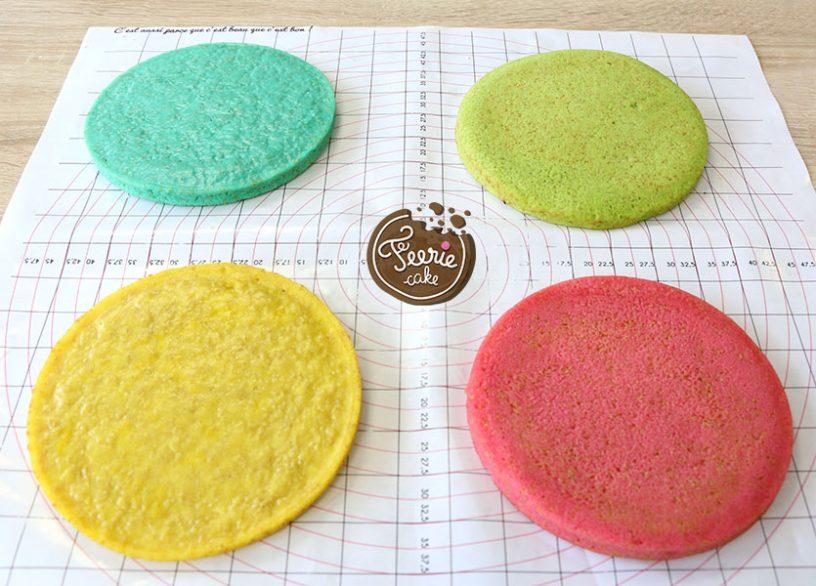 Les couches du Rainbow Cake