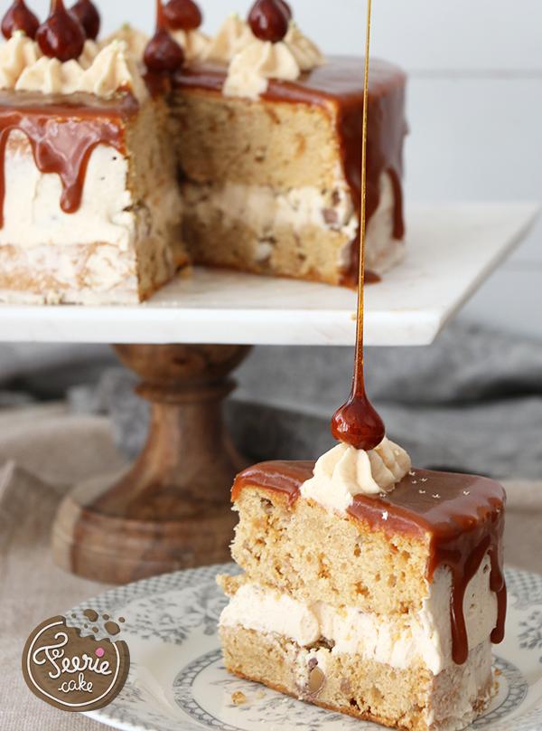 Drip-Torte mit karamellisierten Haselnüssen