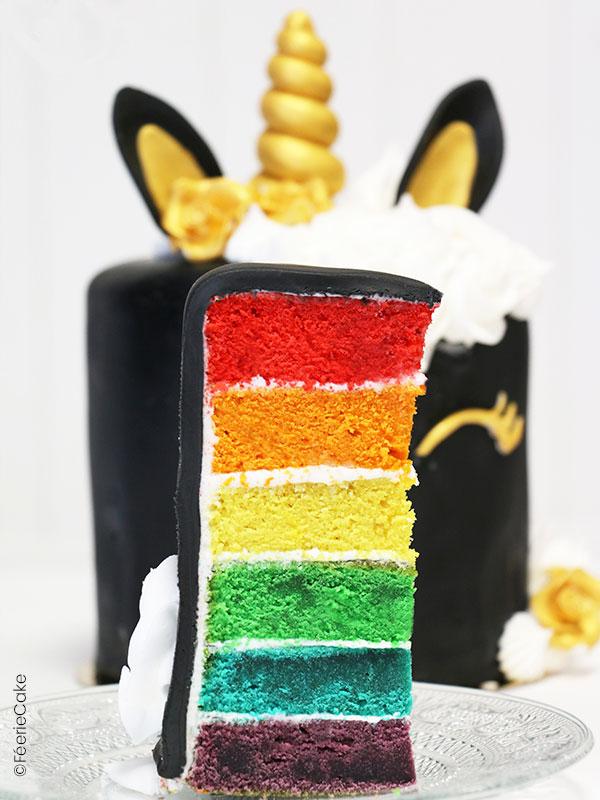 Layer Cake aux couleurs d'un Rainbow Cake recouvert de Pâte à Sucre pour un gâteau Licorne