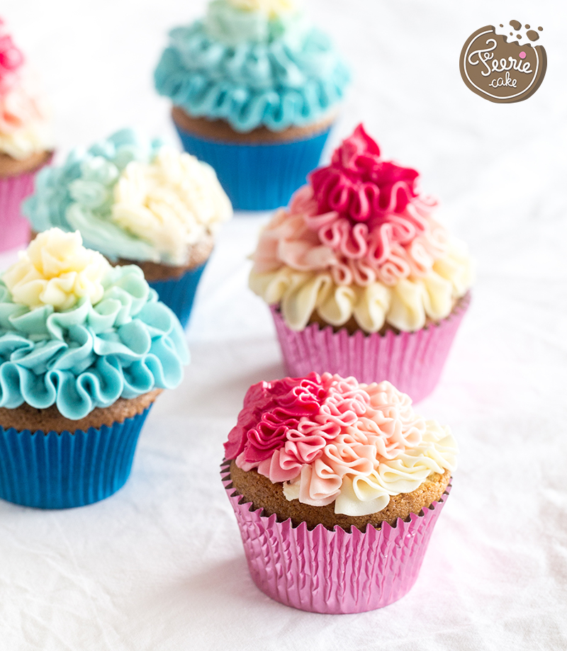 Cupcakes mit Rüschen in Obmbre