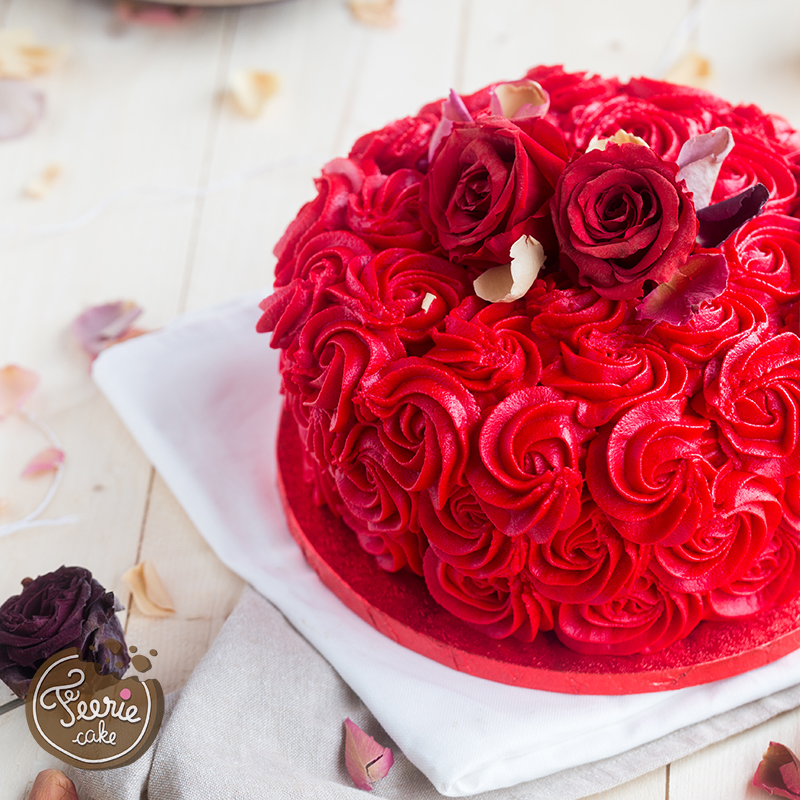 gâteau Saint-Valentin roses