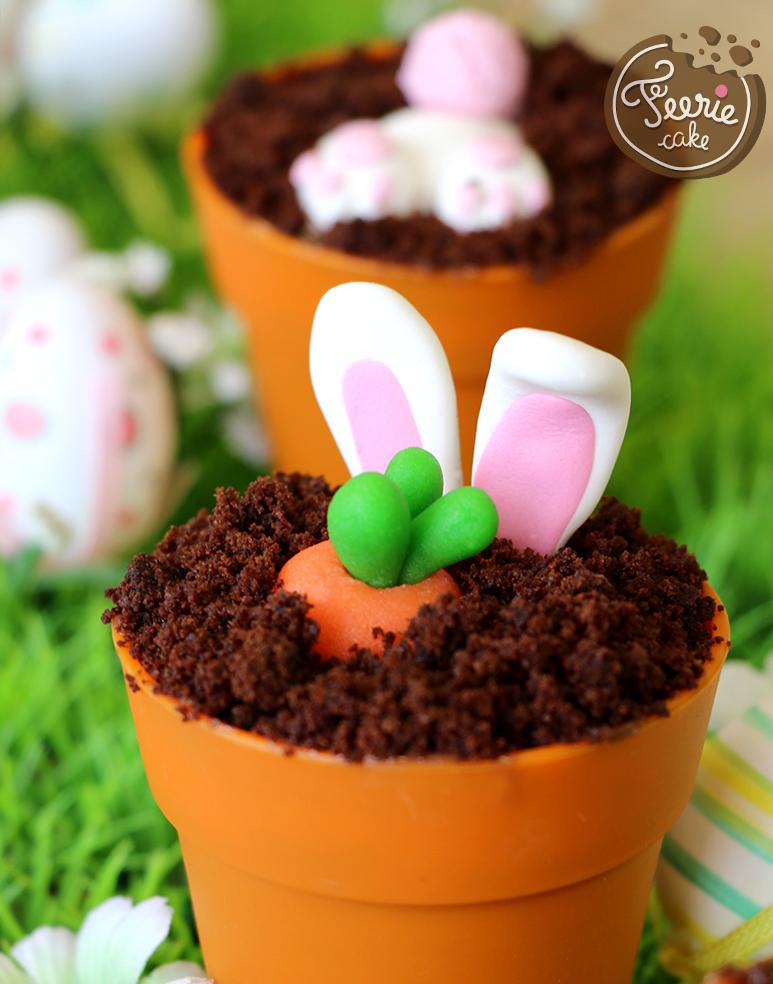 Oster-Cupcakes-Gemüsegarten häschen