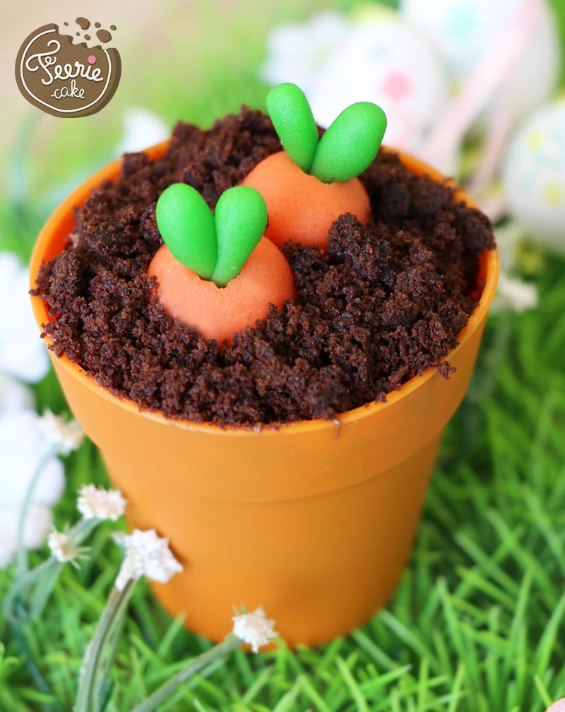 Oster-Cupcakes-Gemüsegarten möhre