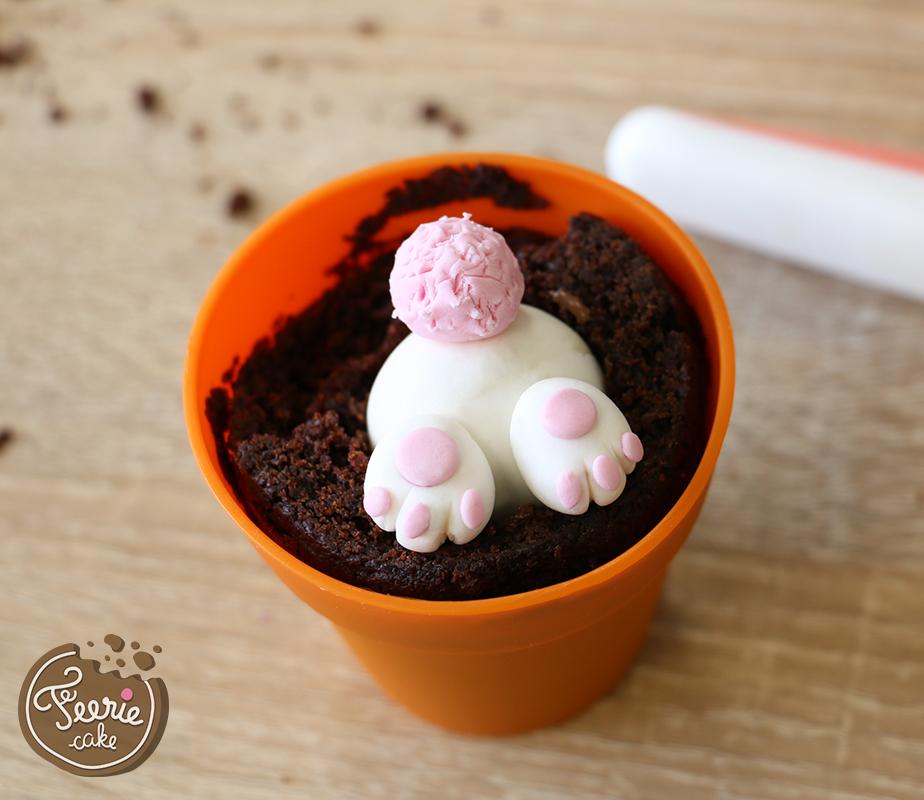 cupcakes de pâques lapin pattes modelage