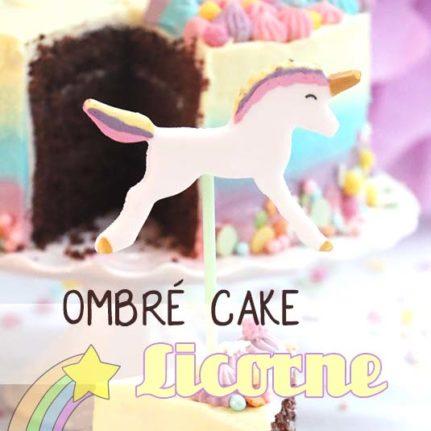 Ombré cake pastel et licorne