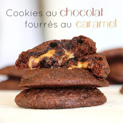 Cookies chocolat fourrés au caramel