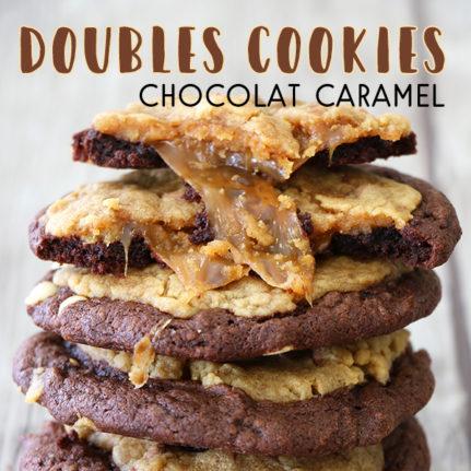 Double cookies cœur coulant caramel