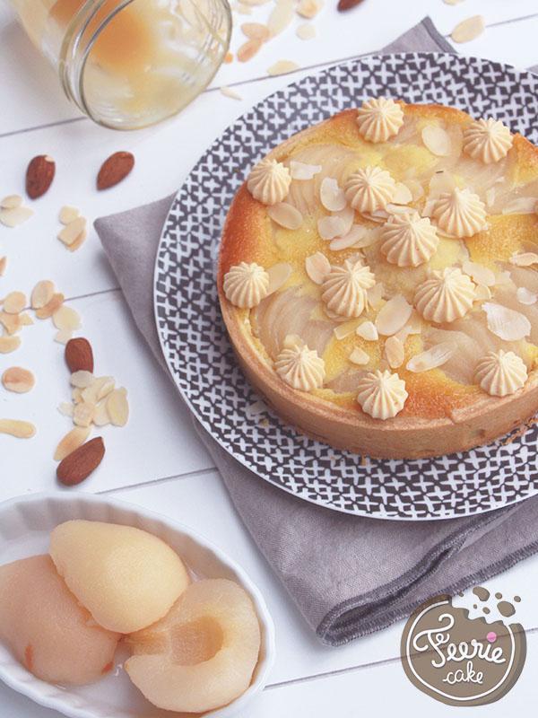 Tarte amandine aux poires et crème chantilly caramel beurre salé