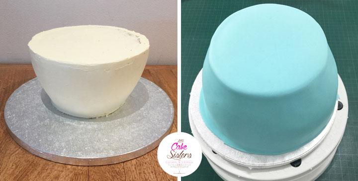 Recouvrez le gâteau de pâte à sucre
