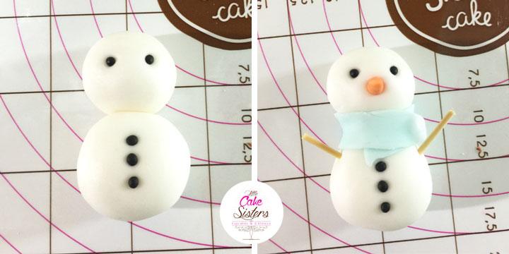 Montage du bonhomme de neige en pâte à sucre.