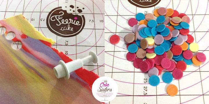 Préparez des confettis à l'aide de pâtes à sucre de plusieurs couleurs