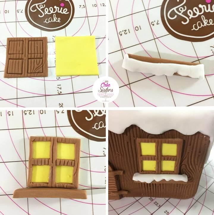 Montage de la fenêtre en pâte à sucre.