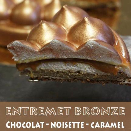 Entremet chocolat, noisette & caramel