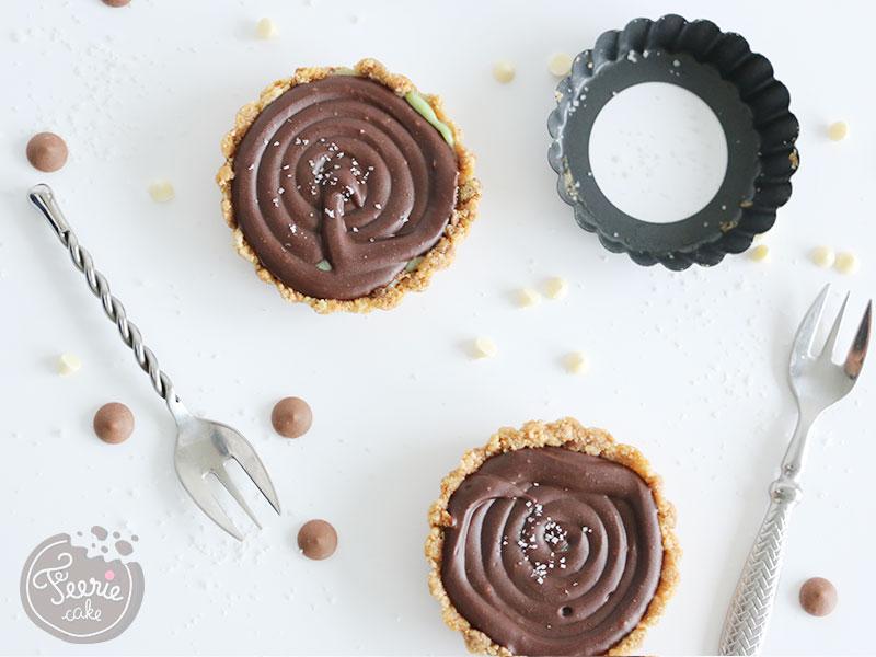 Tartelettes de Féerie Cake chocolat pistache réalisées avec des moules à tartelettes Kitchen Craft