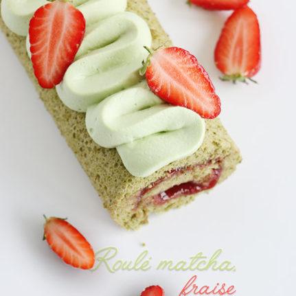 Gâteau roulé matcha, fraise et pistache