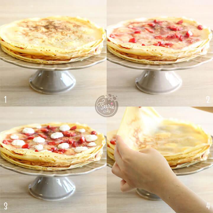 Etapes de montage du gâteau de crêpes aux fraises