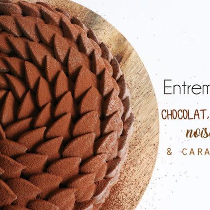 Entremets chocolat, noisettes et caramel