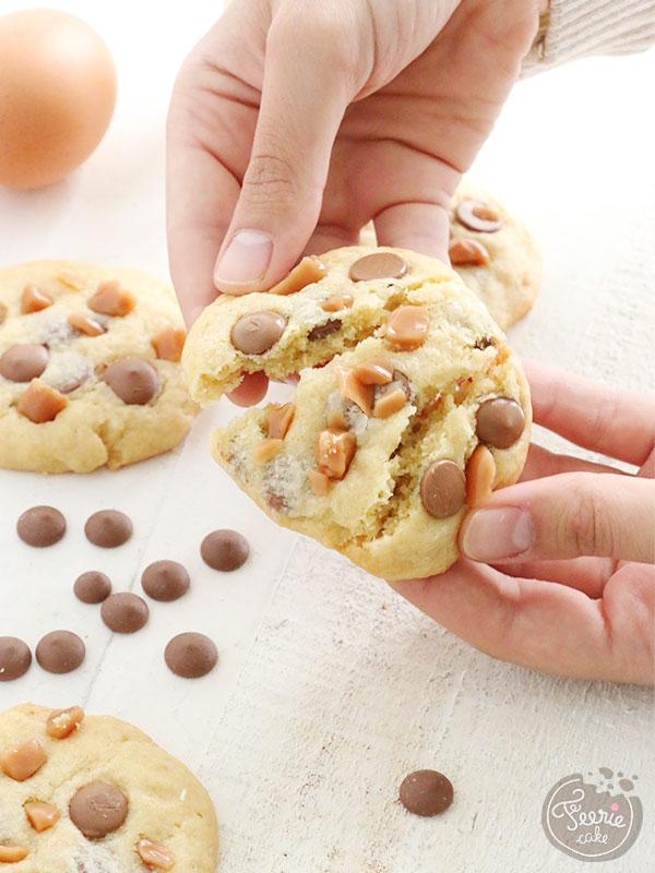 Cookies aux pépites de chocolat au lait et caramel à la crème