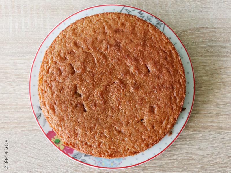 Le biscuit de l'entremet chocolat, noisettes et caramel