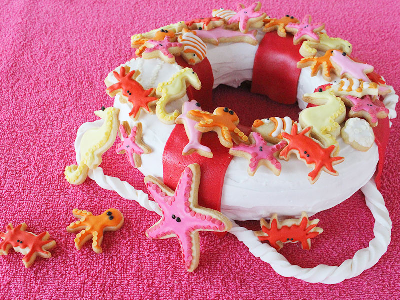 Gagnant du concours Cake On The Beach de Féerie Cake : La bouée marine de Pascale et Anaïs