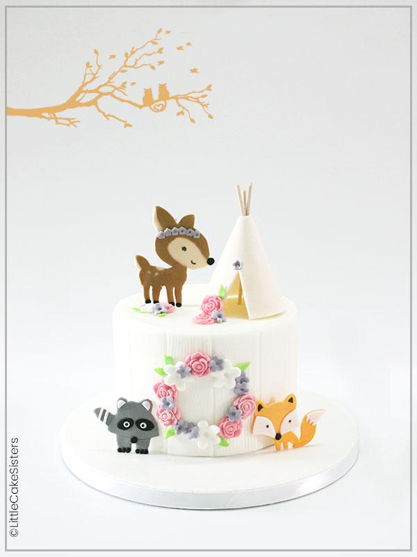 Gâteau de pâte à sucre sur le thème de la nature