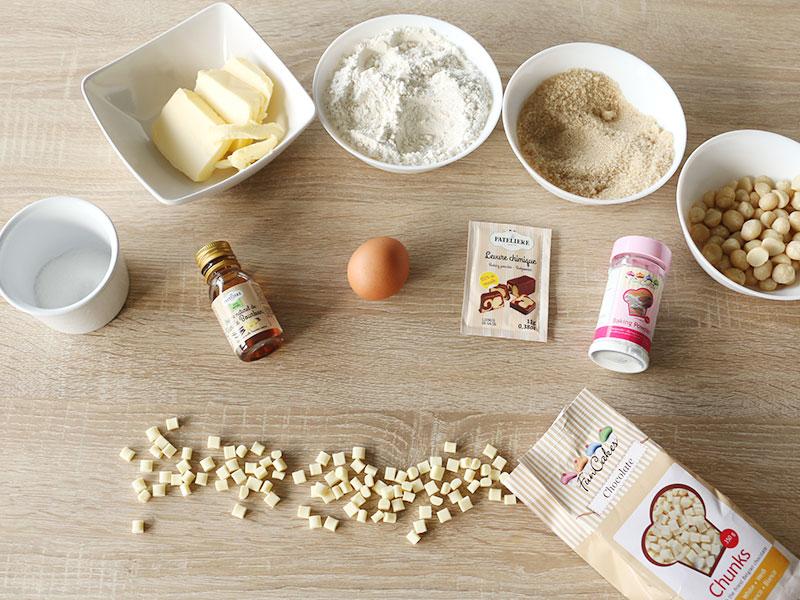 Les ingrédients pour la recette des cookies chocolat blanc et noix de macadamia