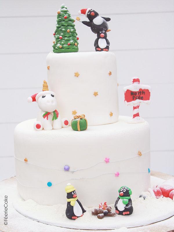 Gâteau en pâte à sucre de Noël, avec licorne, pingouins...