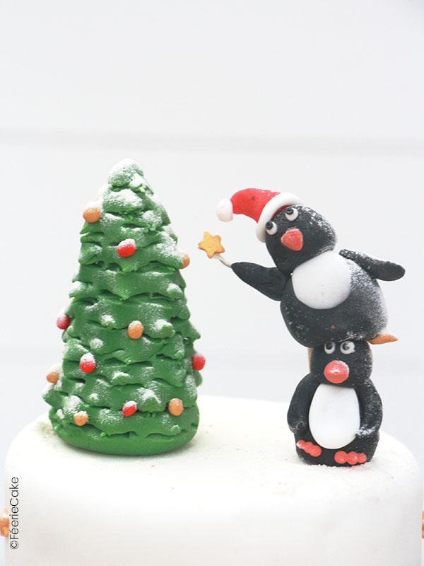 Modelage en pâte à sucre pingouins et sapin de Noël