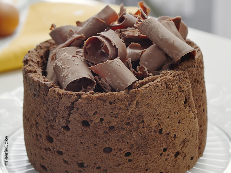 gâteau ultra chocolaté sponge cake et bavarois, copeaux de chocolats