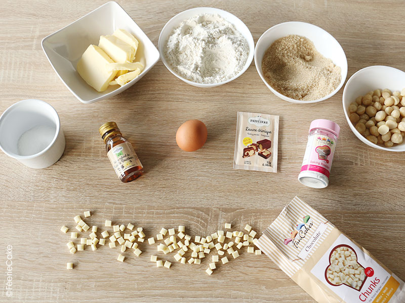Les ingrédients pour la recette des cookies chocolat blanc et noix de macadami