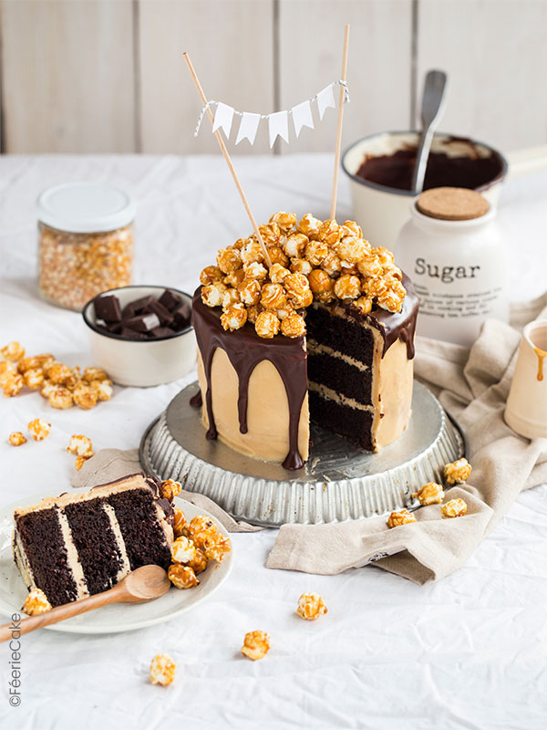 Recette du Layer Cake au Chocolat Caramel Pop Corn