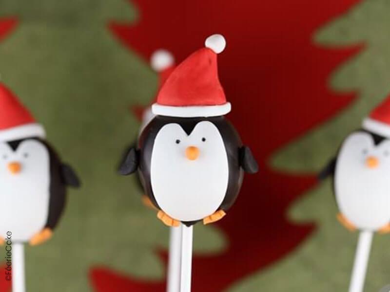 Cake pops de Noël en forme de pingouins
