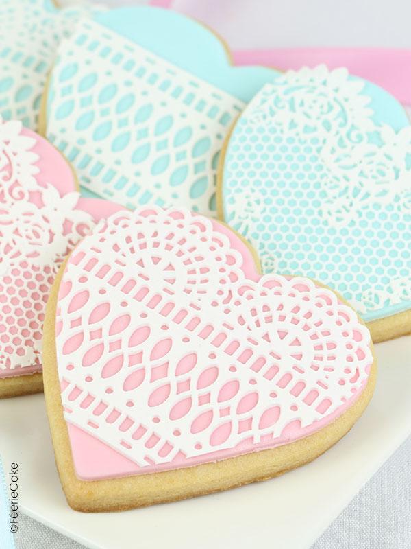 Biscuits dentelle de la Saint Valentin