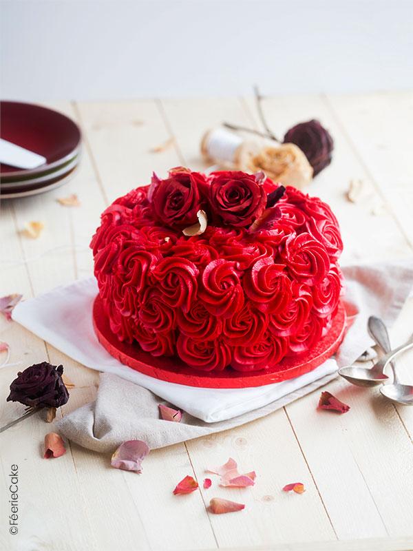 Gâteau en forme de bouquet de rose pour la Saint Valentin
