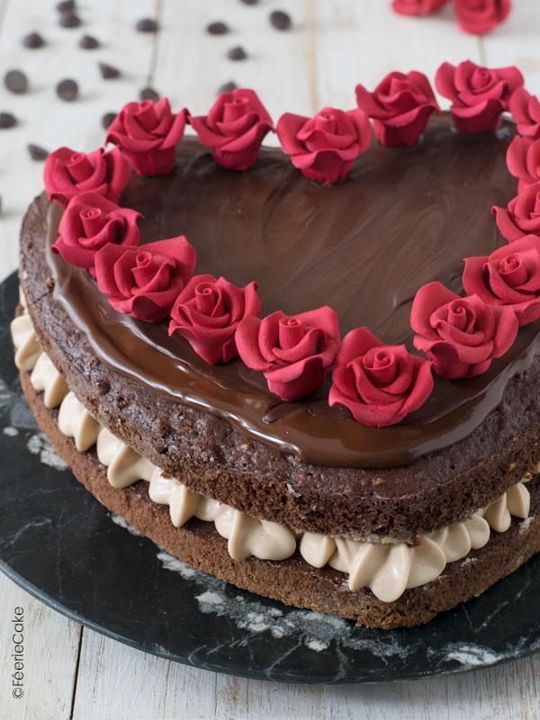 Layer cake pour la Saint Valentin chocolat praliné
